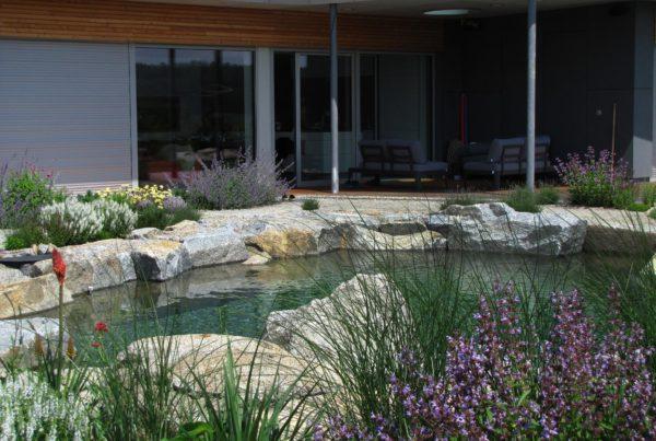 Zahrada s kamenným jezírkem